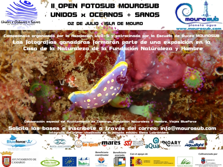 Cartel para el II Open de Fotografía Submarina MOUROSUB / Unidos x Océanos + Sanos