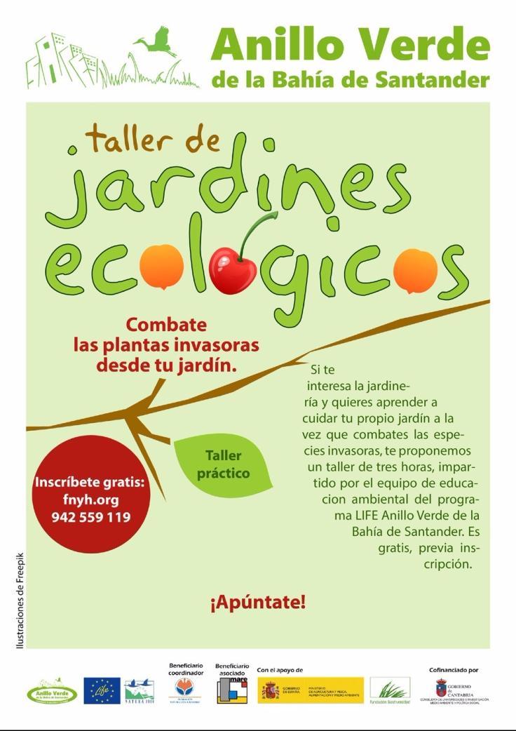 Cartel para el Taller de Jardines Ecológicos del Anillo Verde de la Bahía de Santander.