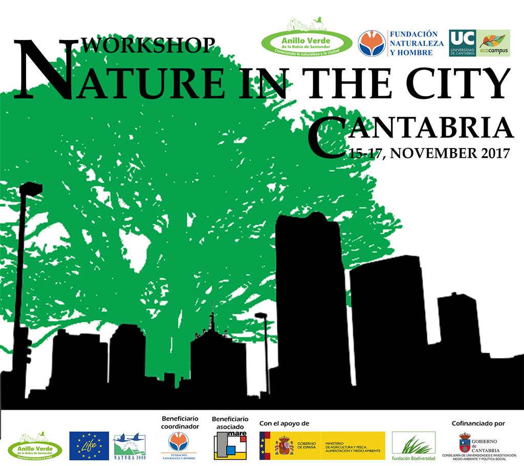 """Cartel para el Workshop """"Nature in the City"""", del proyecto LIFE Anillo Verde de la Bahía de Santander"""