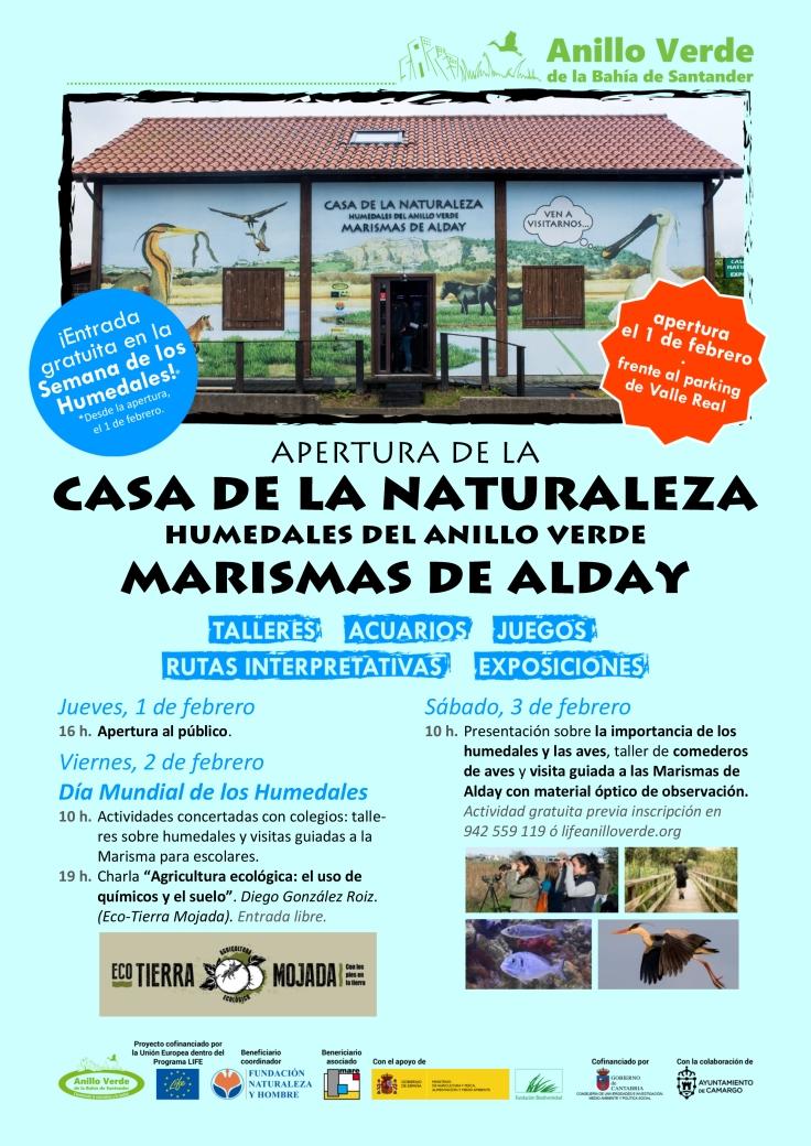 Cartel para la apertura de la Casa de los Humedales del Anillo Verde - Marismas de Alday