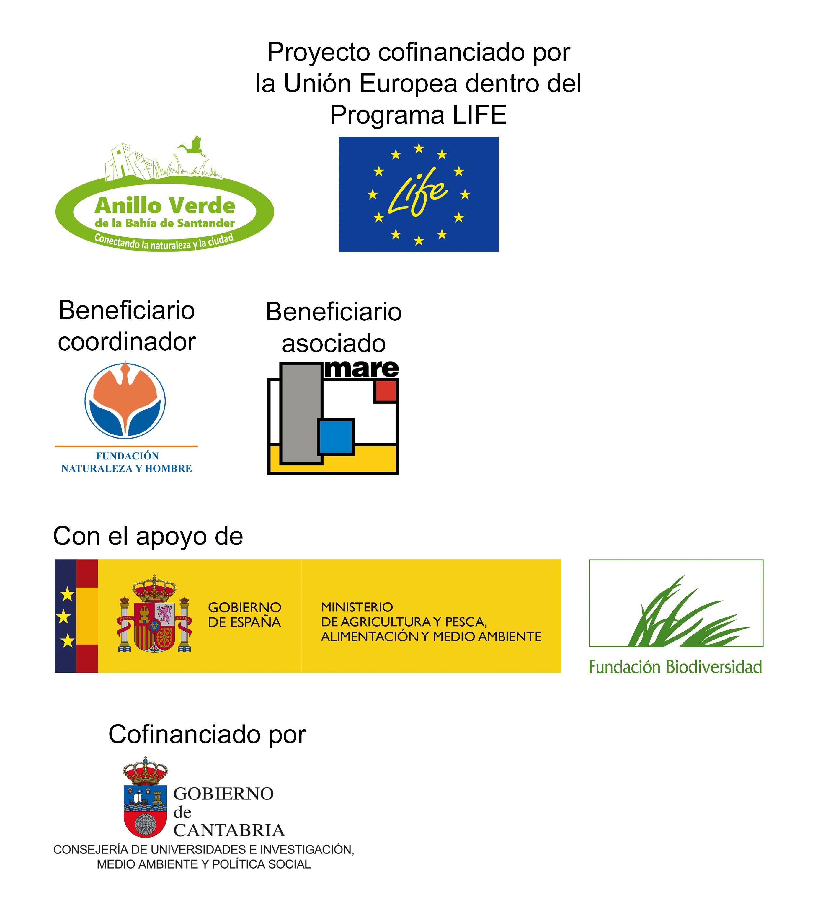 """Entidades colaboradoras del proyecto LIFE """"Anillo Verde de la Bahía de Santander"""""""