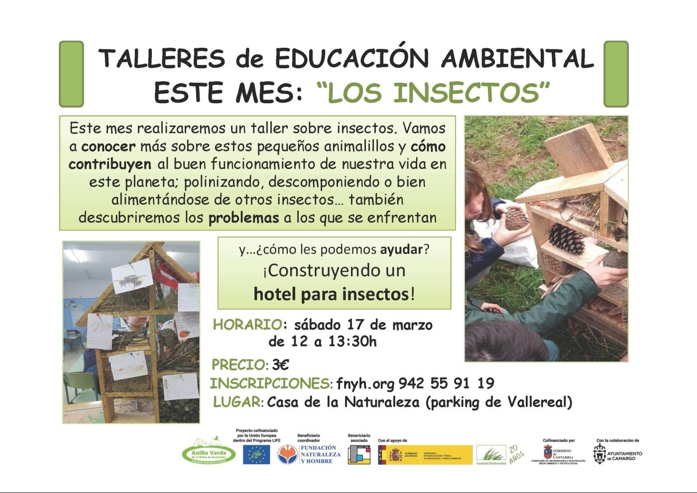 Taller de Educación Ambiental: Los insectos, bichos a tu alrededor. Casa Naturaleza Humedales Anillo Verde, marisma Adlay. 17 marzo 2018